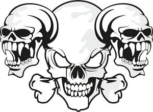 Skulls silhouette at getdrawings. 3 vector vector black and white stock