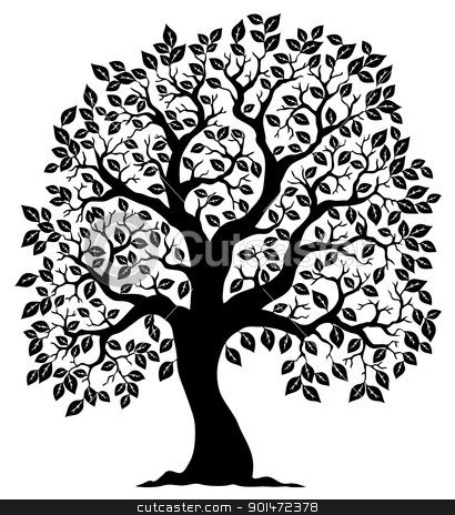 Royalty free clipart silhouette. Tree shaped vector illustration