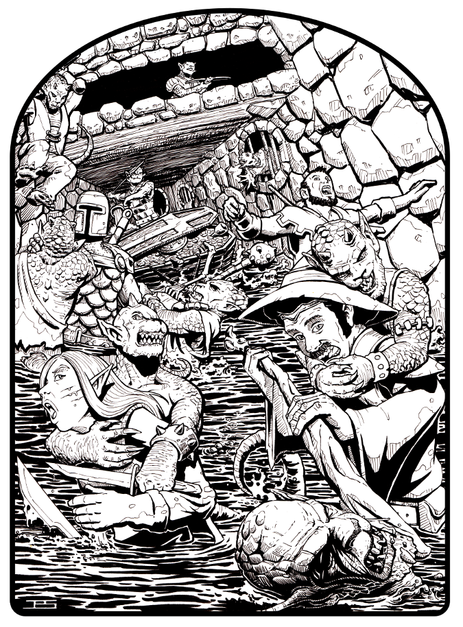 Rpg drawing black and white. Redmark adventures volume dungeonesque