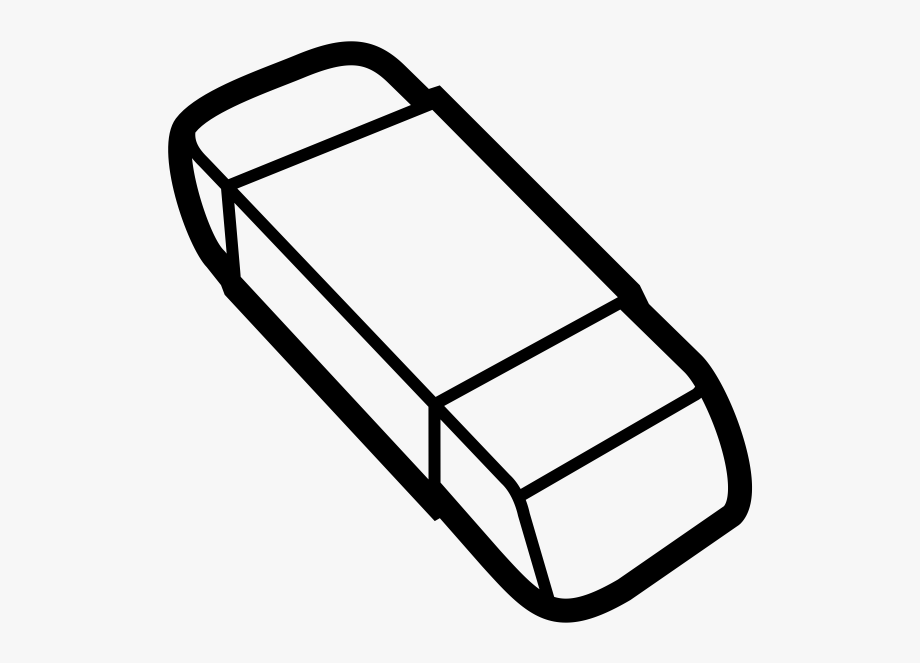 Rubber eraser. Clipart black and white