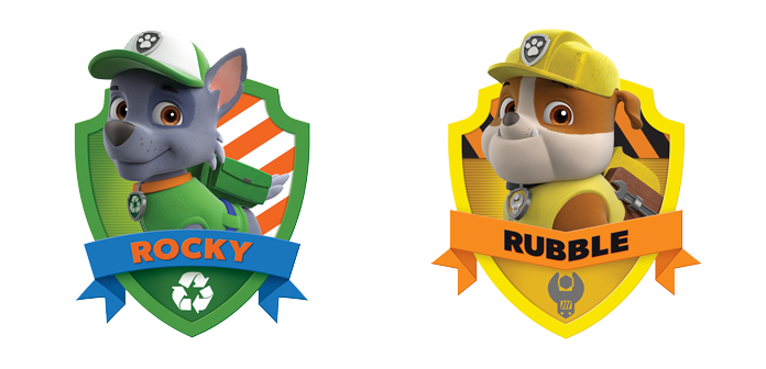 Rubble paw patrol png. Rocky and badges