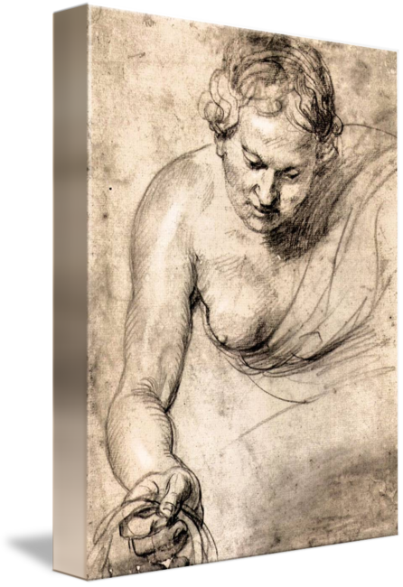 Rubens drawing. Female figure by peter