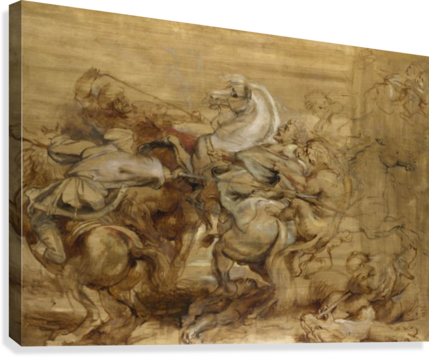 Rubens drawing famous. A lion hunt peter