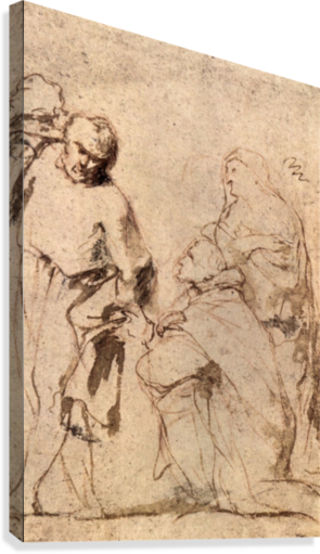 Rubens drawing figure. Study by canvas print