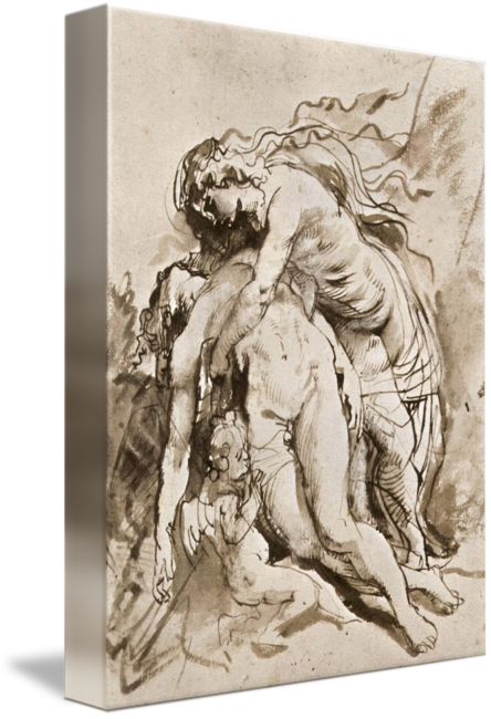Rubens drawing figure. The death of adonis