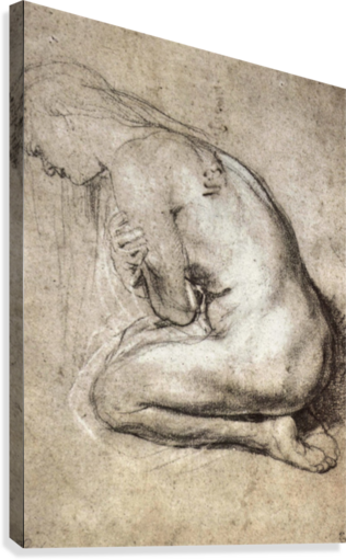 Rubens drawing line. Study of mary magdalene