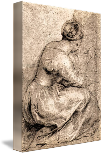 Rubens drawing sketch. Sitting girl by peter