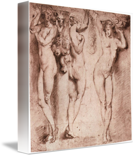 Rubens drawing technique. Three caryatids by peter