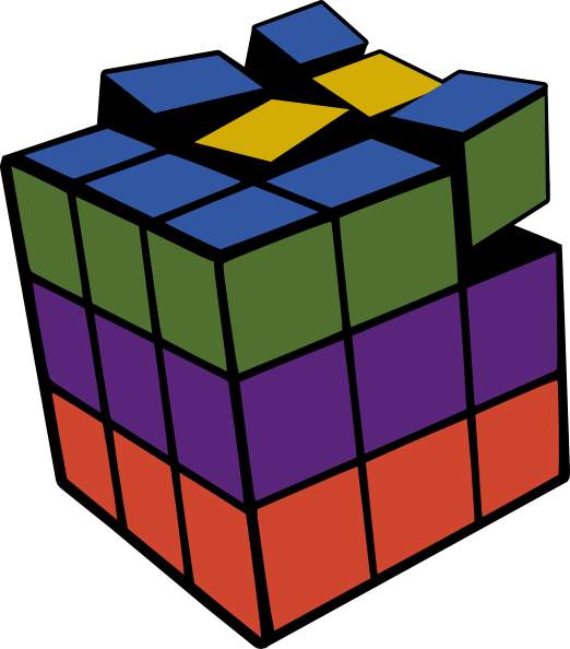 Rubik clipart animated. Rubiks cube d colored