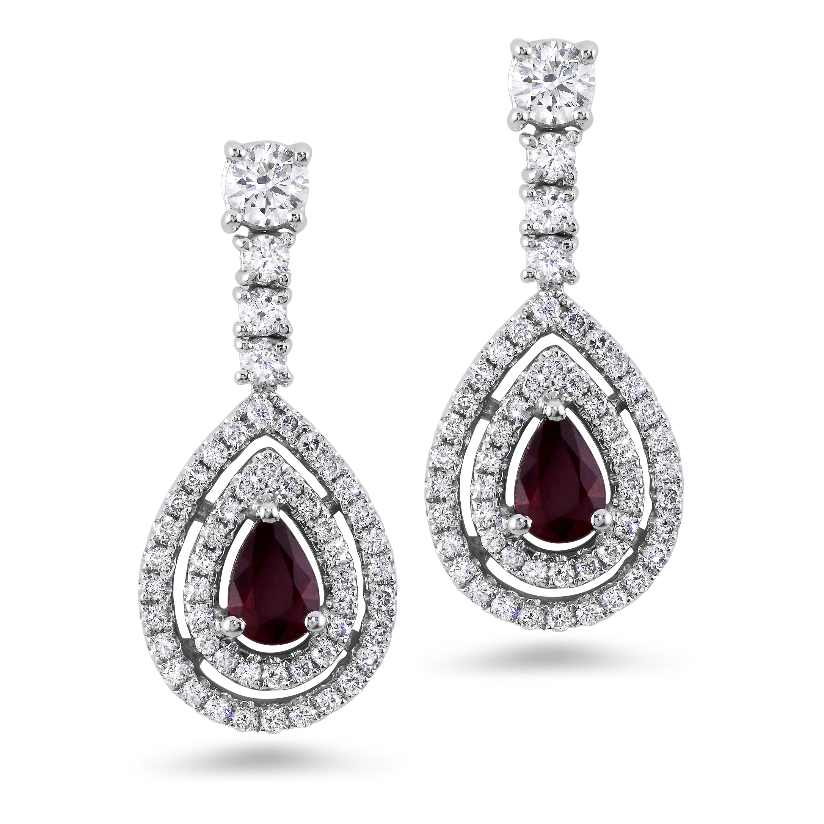 Ruby transparent beautiful. Diamond earrings with a