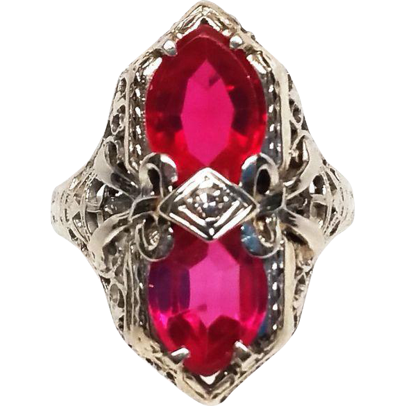 Ruby transparent beautiful. Art deco k white