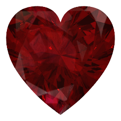 Ruby transparent heart cut. Platinum ring with diamond