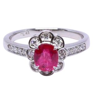Ruby transparent unheated. Fine burma ring ct