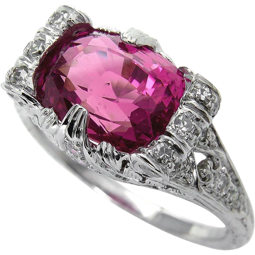 Ruby transparent unheated. Art deco gia ct