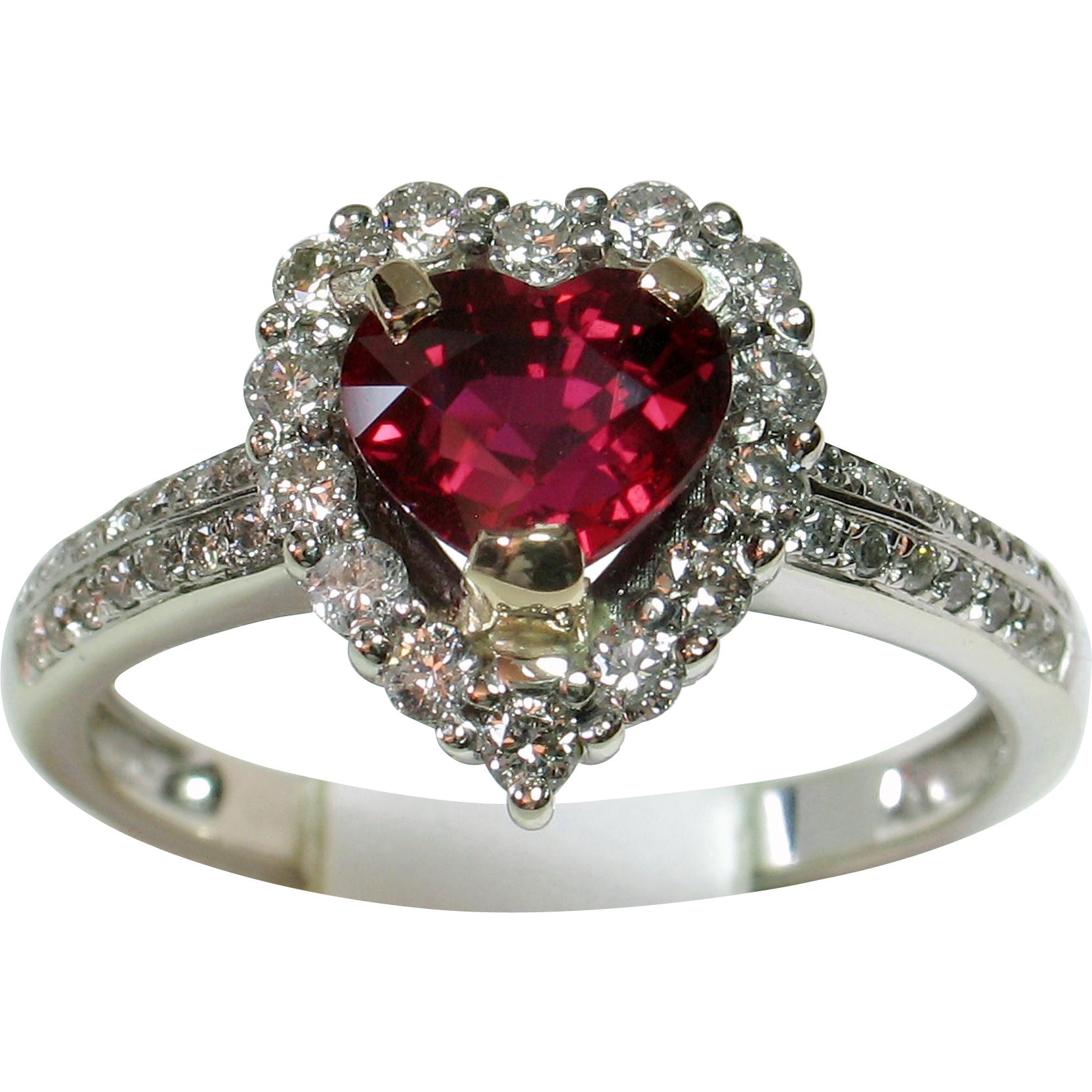 Ruby transparent unheated. Vivid rare heart shaped