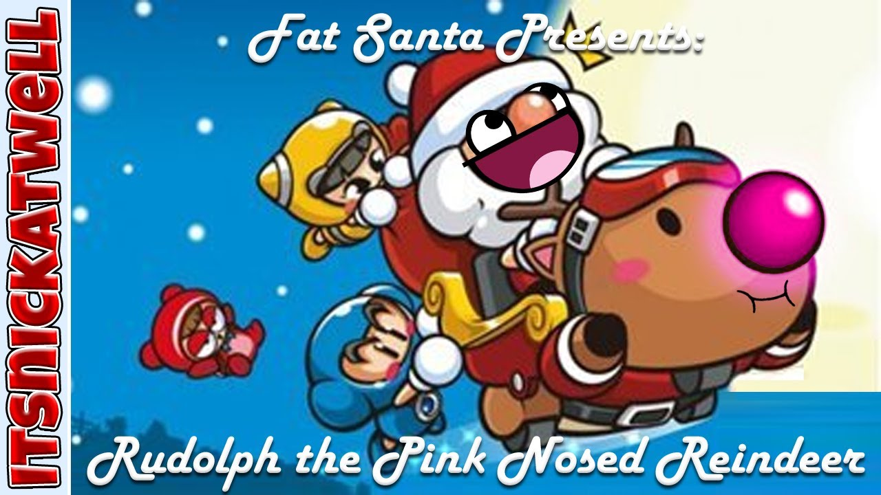 Rudolph clipart fat. Santa presents the pink