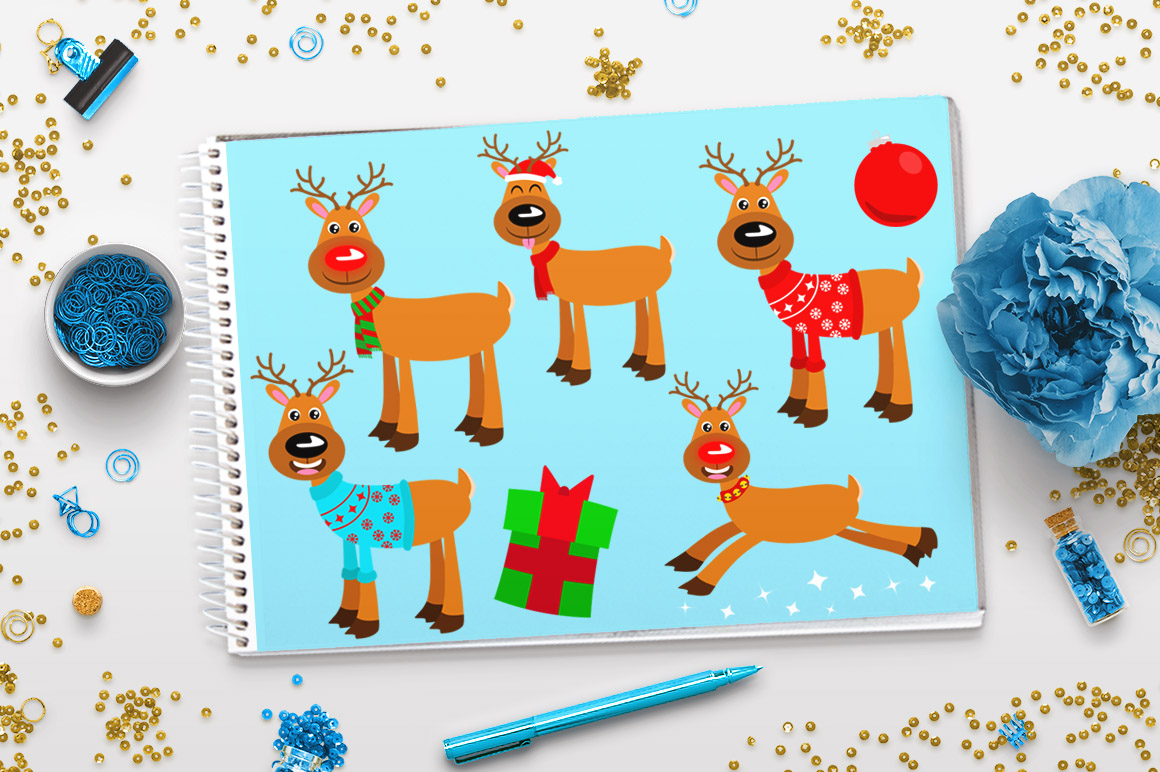 Rudolph clipart holiday. Reindeer christmas winter cute