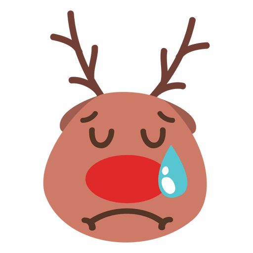 Rudolph vector face. Crying reindeer emoticon transparent