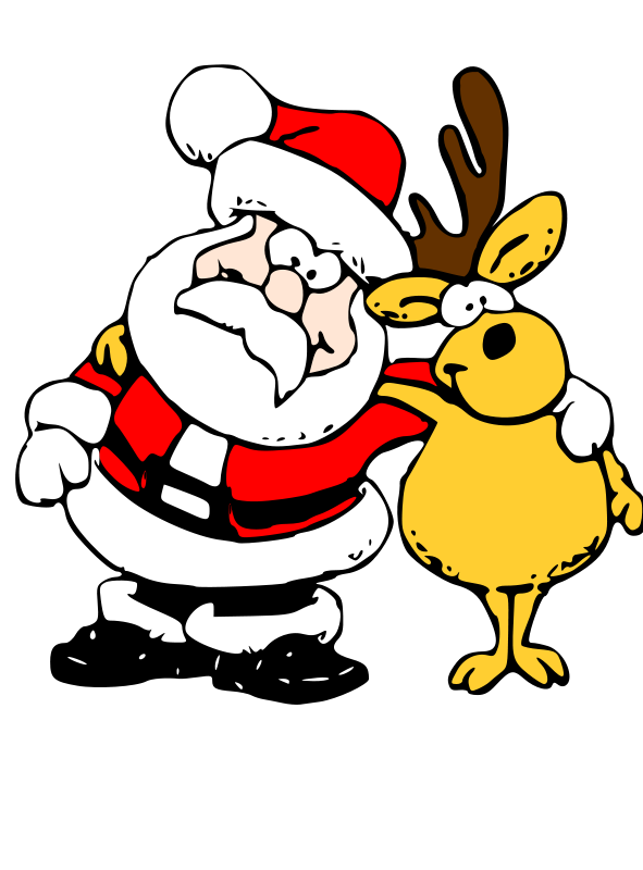 Rudolph vector santa. Free and reindeer psd