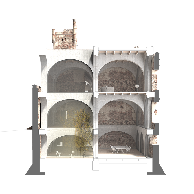Ruins drawing arch. Loes perspektive schnitt png