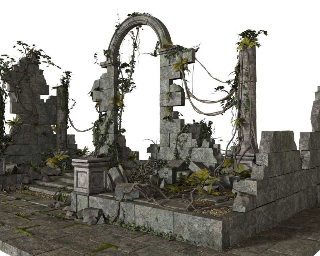 Ruins drawing jungle temple. Free stock png by