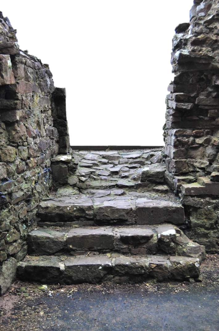 Ruins drawing stone wall. Ftestickers building ruined rock