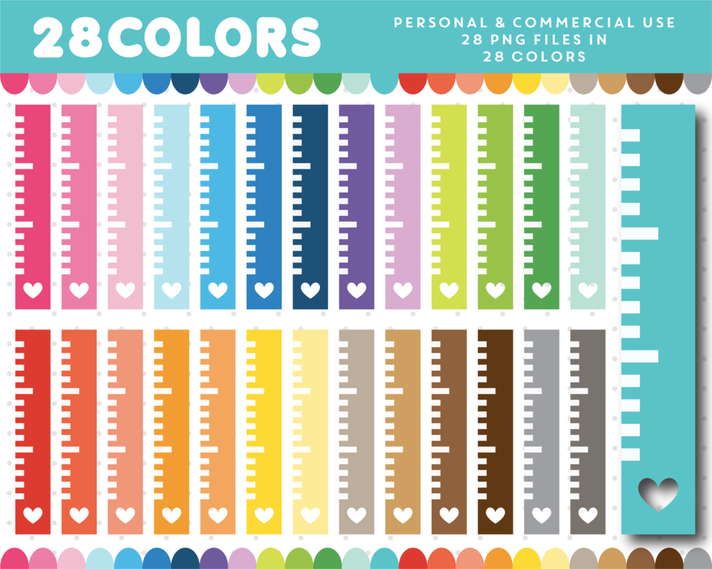 Ruler clipart paper. In rainbow colors cl