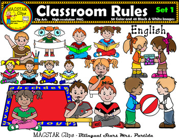 Rules clipart. Classroom bundle english clips