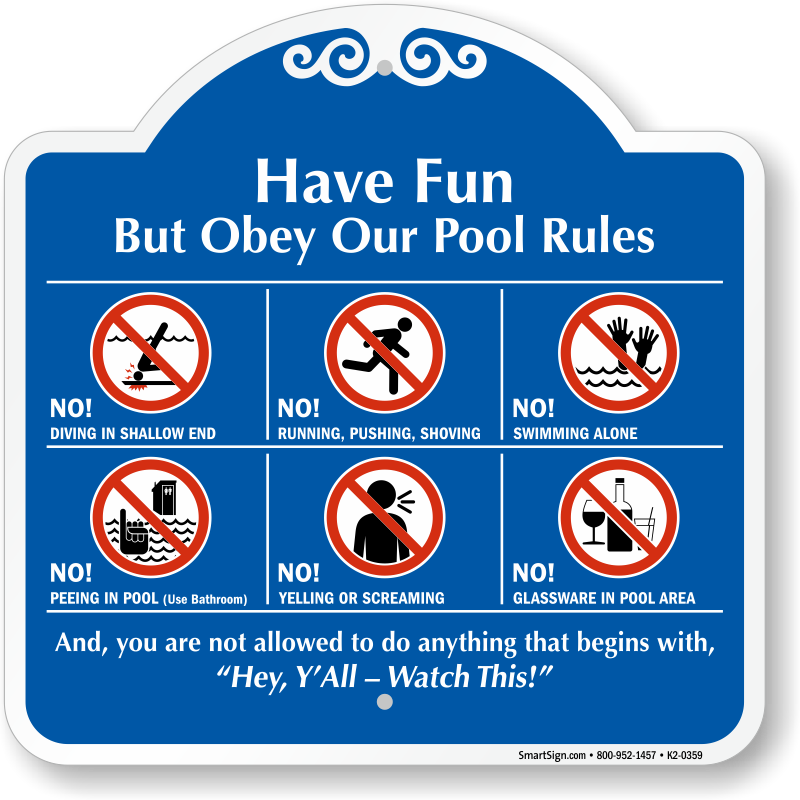 Pool transparent fun. Rules signs free shipping