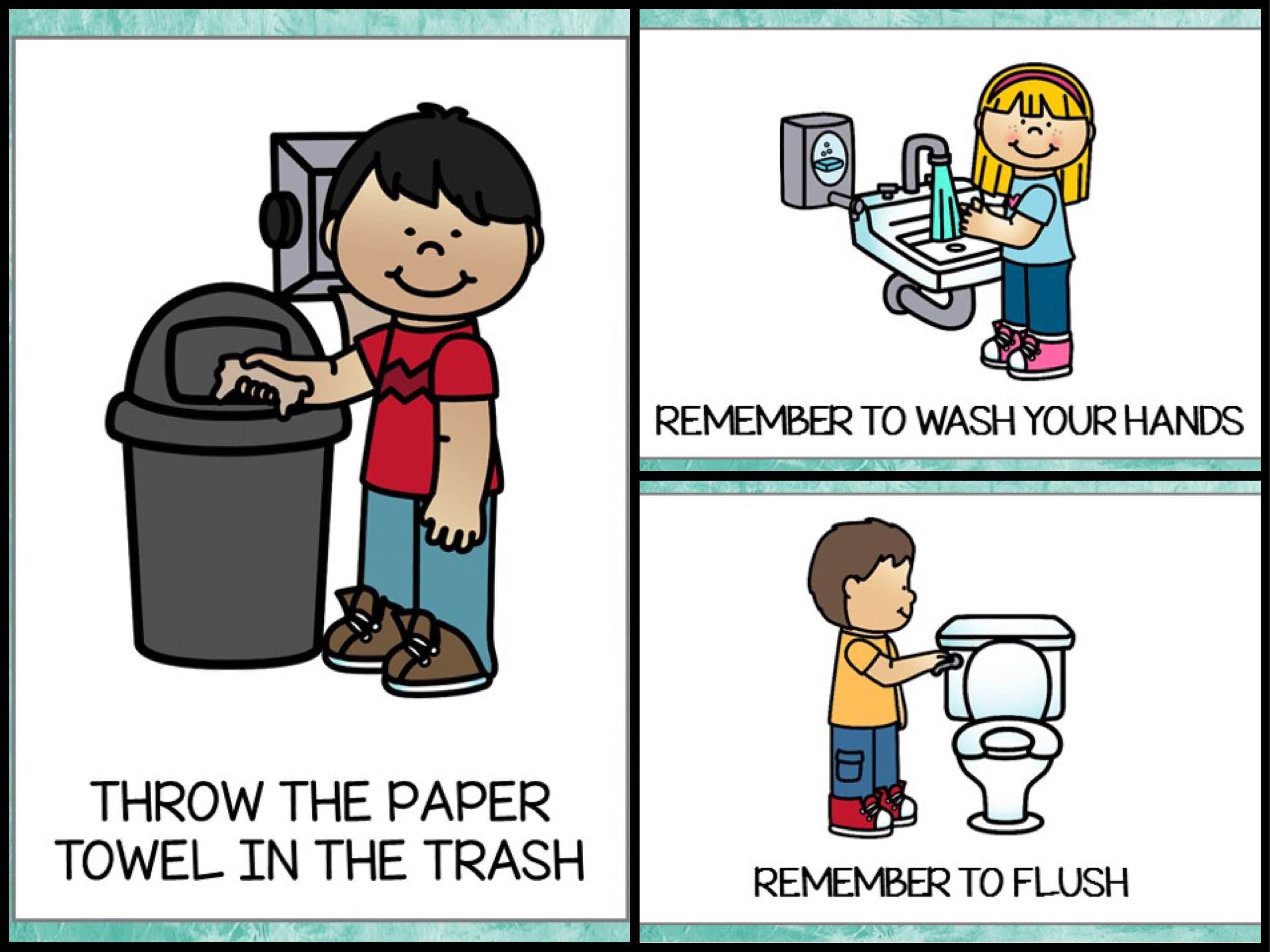 Rules clipart taught. Bathroom posters free printable