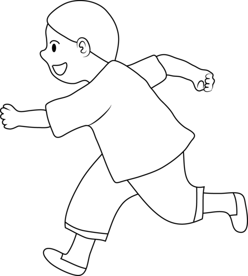 Run clipart boy. Line art of little