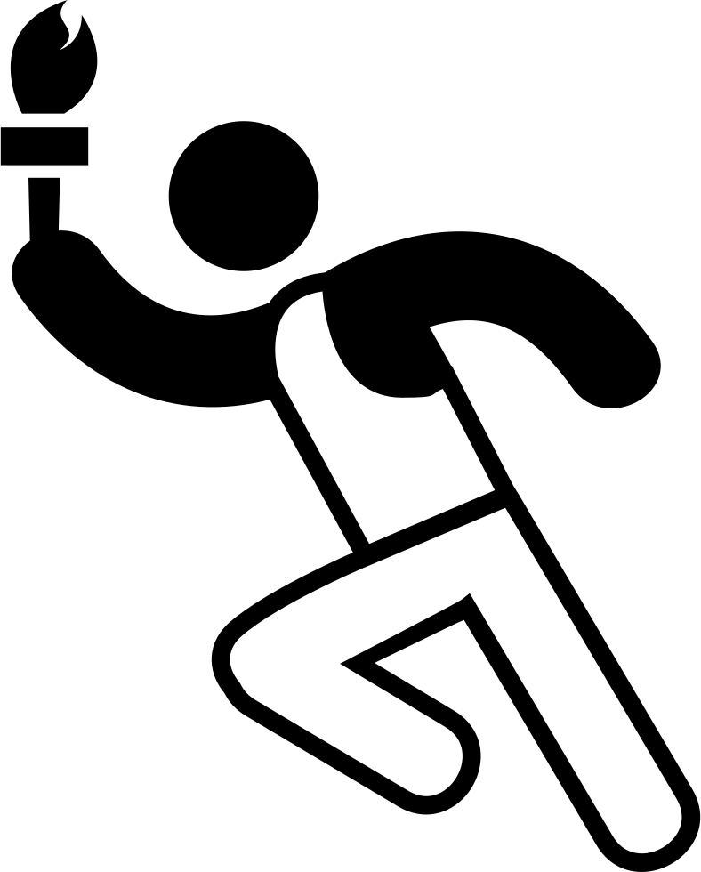 Runner svg clip art black white. Olympic torch png icon