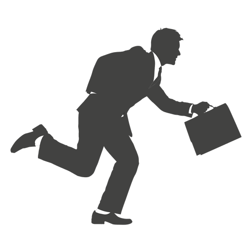 Running businessman png. Busy silhouette transparent svg