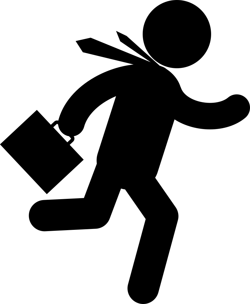 Running businessman png. Fast with suitcase in