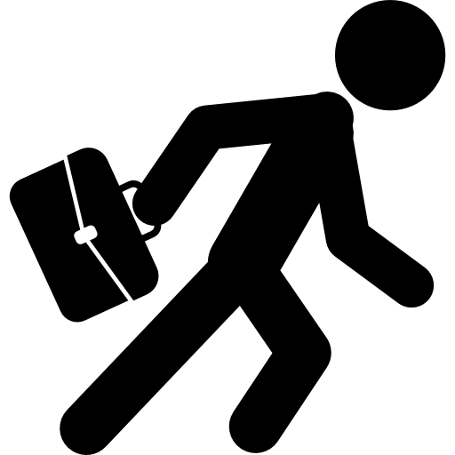 Running businessman png. With his suitcase free