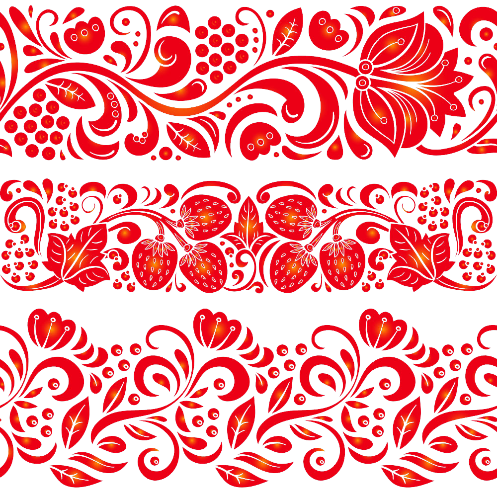 Russia drawing illustration. Khokhloma red pattern silhouette