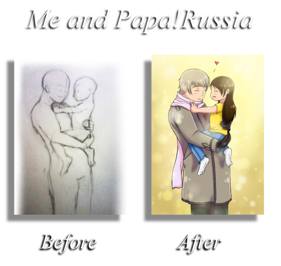 Russia drawing love. Papa before and after