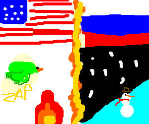 Russia drawing usa. Cold duck zap boring
