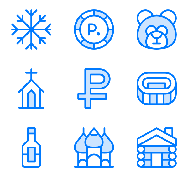 Russia vector color. Icons free