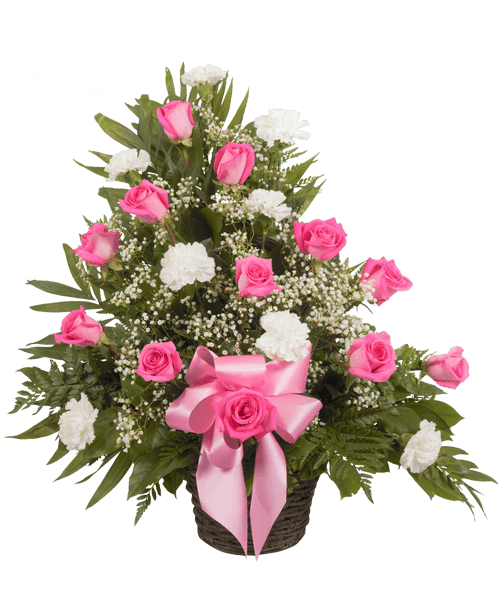 Rustic bouquet png. Memorial table basket with