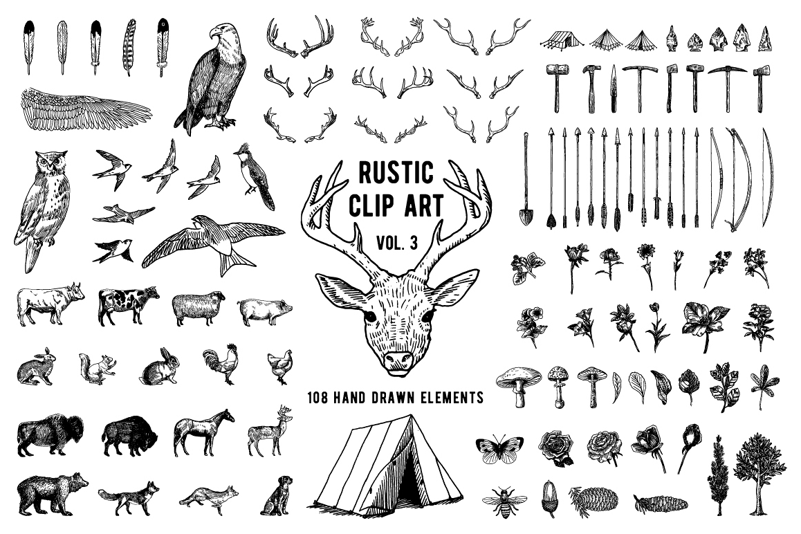 Rustic clipart. Volume ai png eps