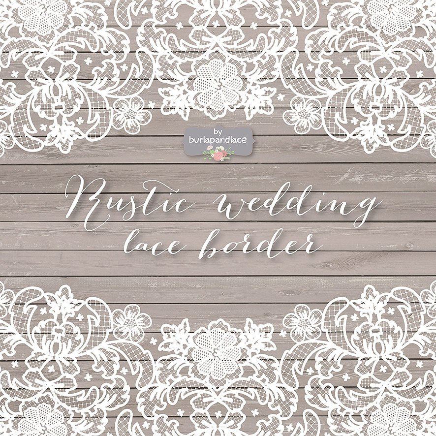 Rustic clipart lace. Vector wedding border illustrations