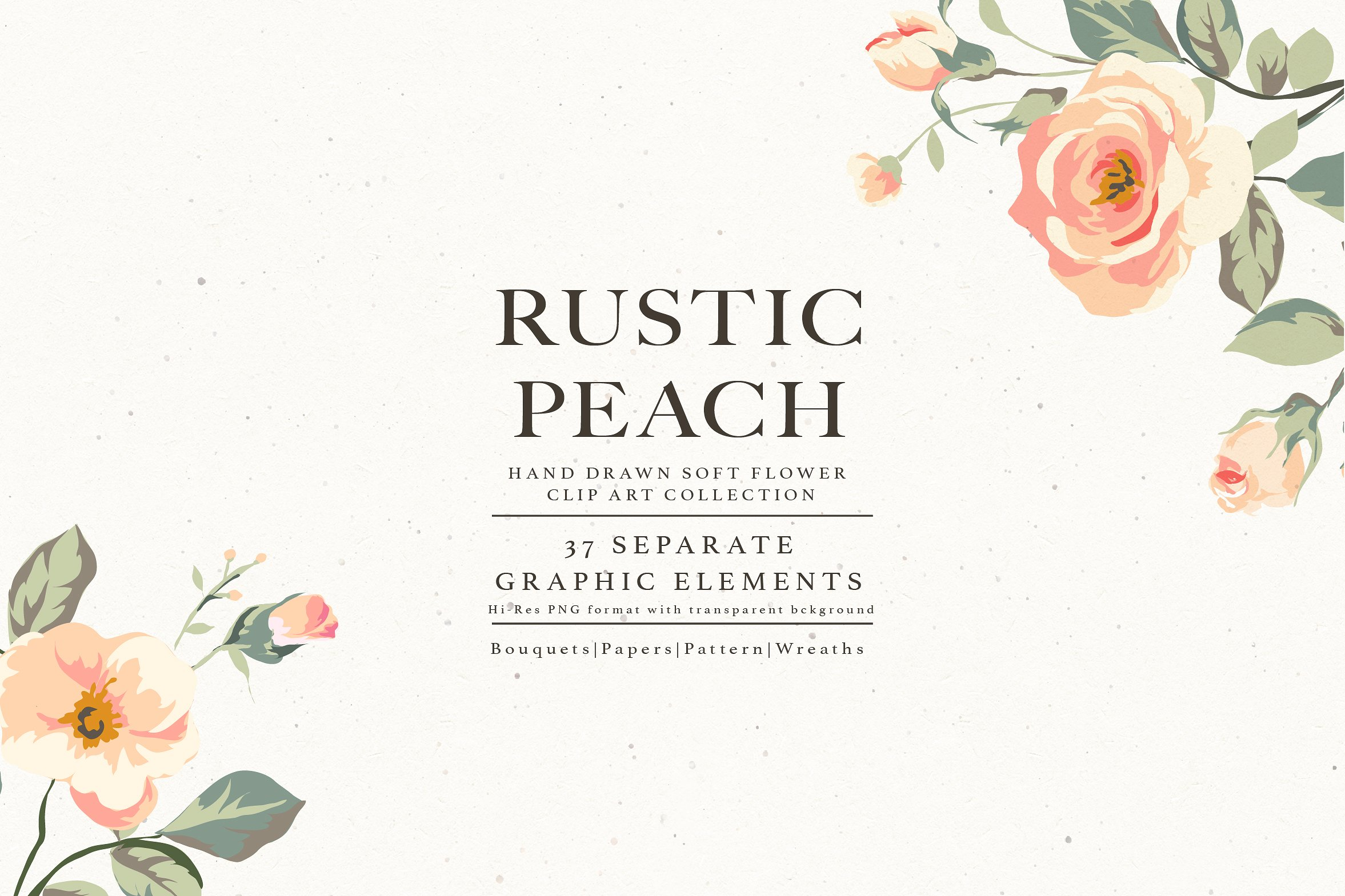 Rustic clipart transparent. Flower collection peach illustrations
