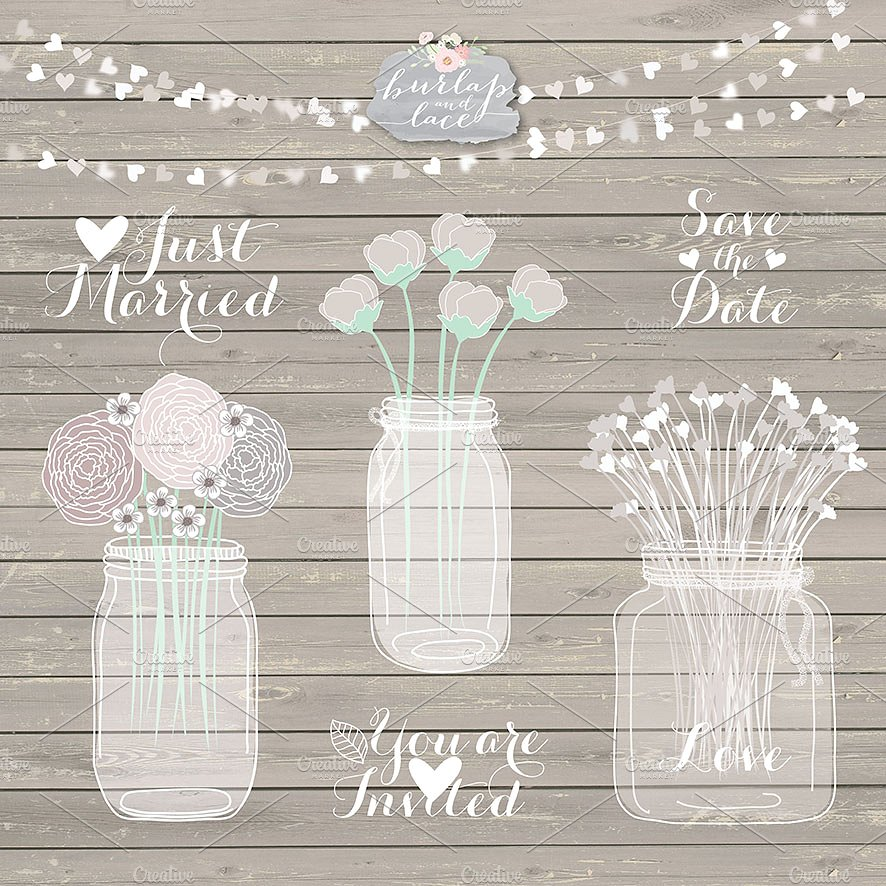 Rustic clipart transparent. Mason jar illustrations creative