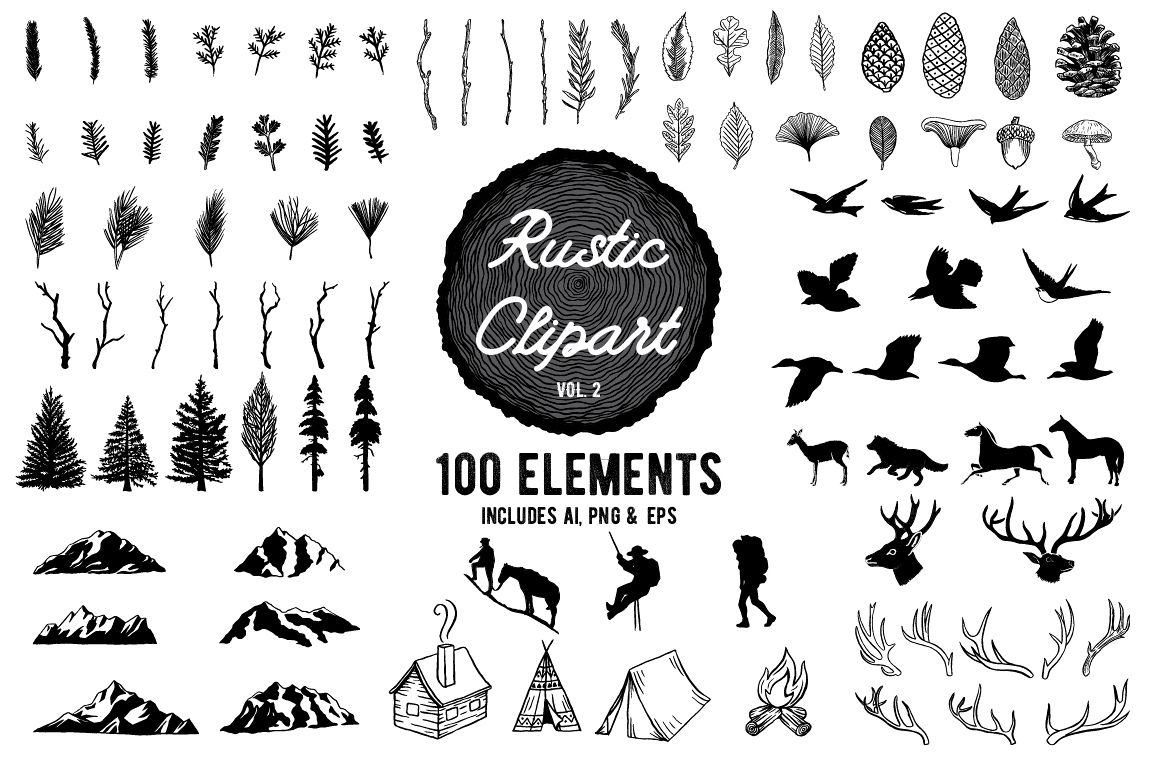 Rustic clipart. Designs vol by birdiy