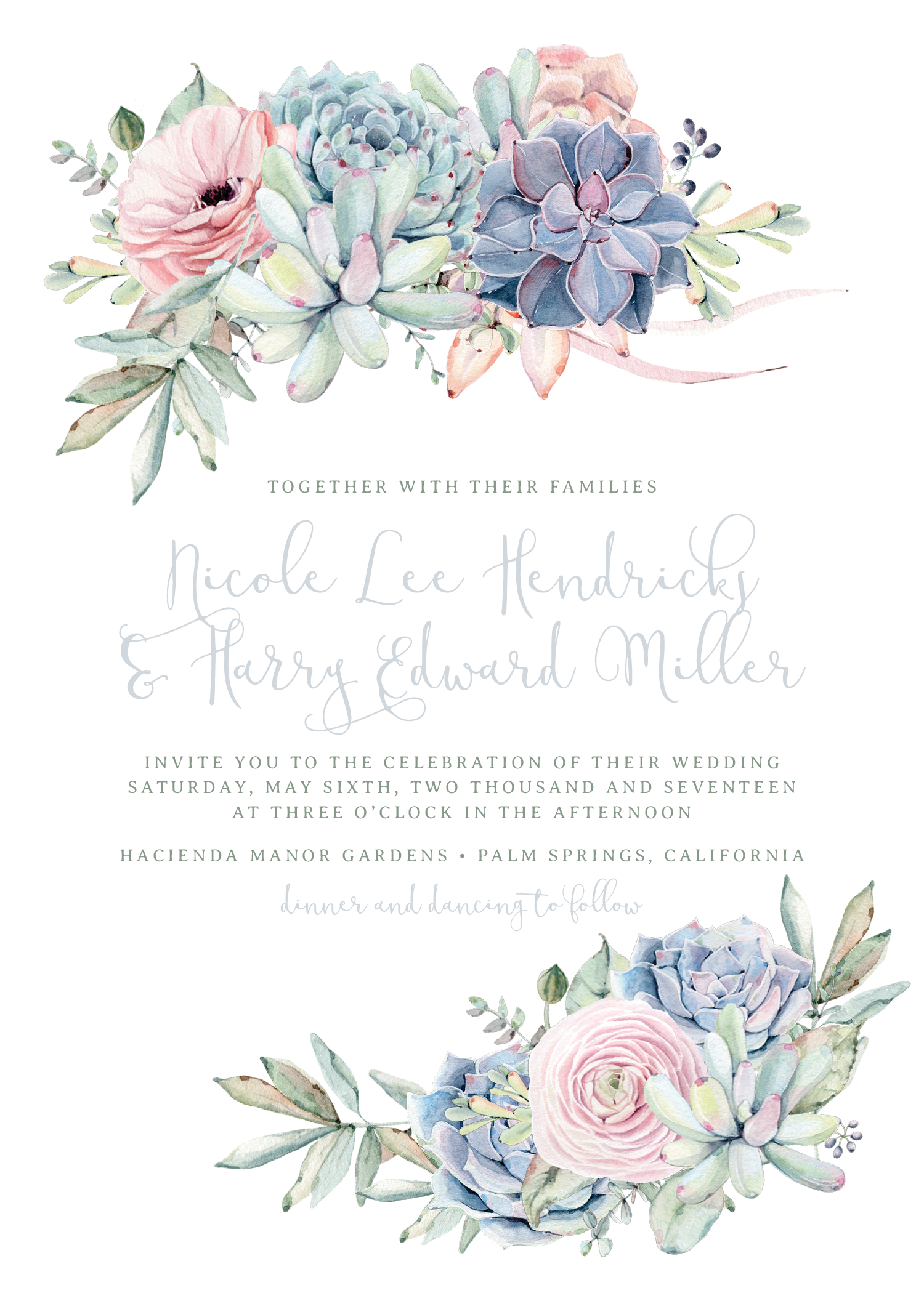 Rustic deer antlers and florals png. Sweet succulents wedding invitation