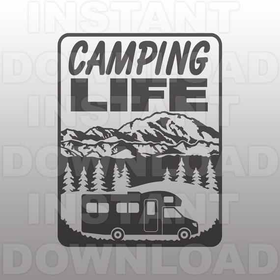 Rv clipart happy camper. Camping life svg file