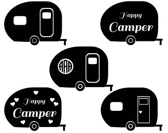 Rv clipart svg. Happy camper etsy studio