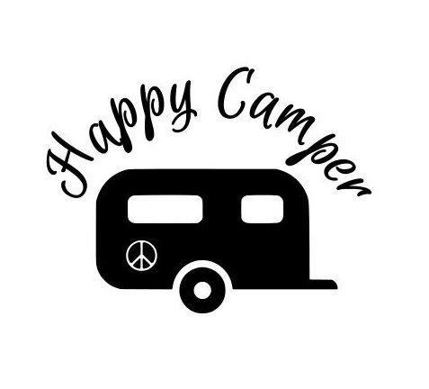 Rv clipart svg. Vintage camper silhouette at