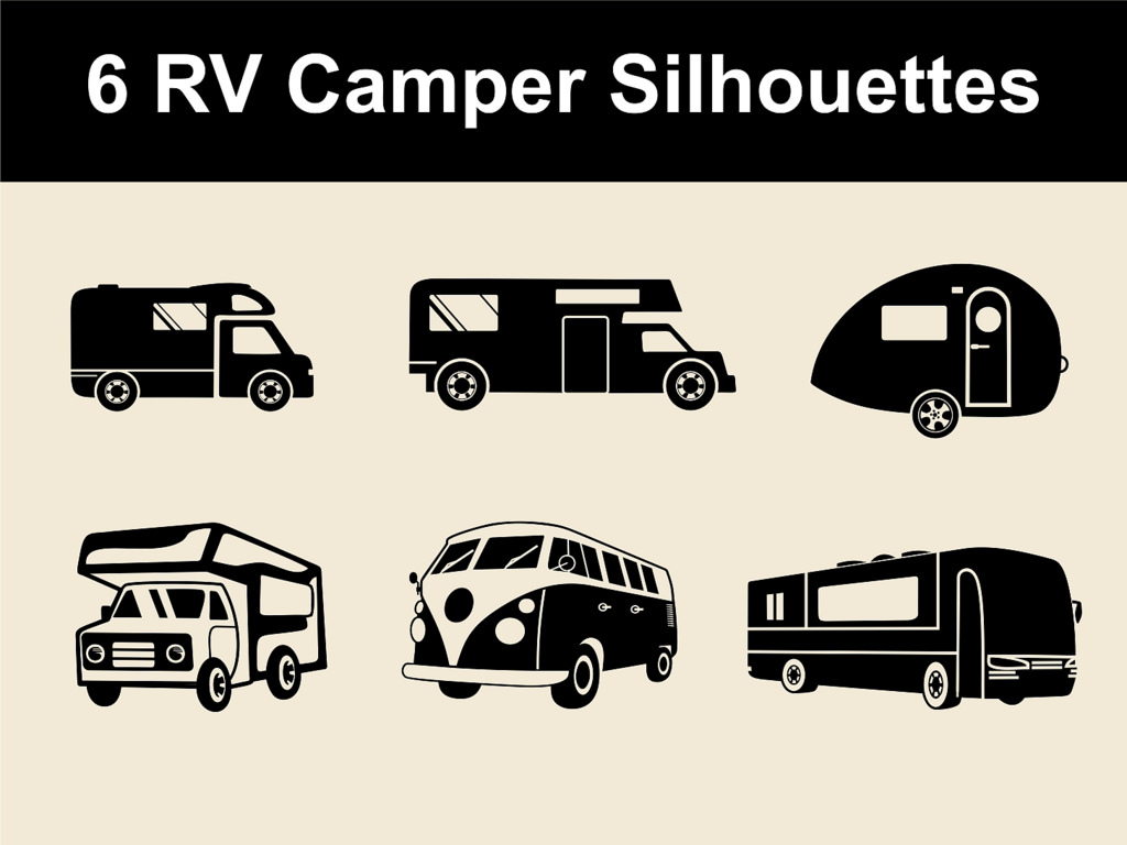 Rv clipart vacation rv. Camper vector silhouettes for